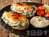 Нисковъглехидратни пълнени пилешки гърди със спанак и сирена